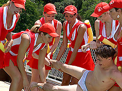 Tranny Baywatch Babes Gang-bang Lucky Dude!