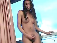 Ebony TS rubbing her lovetoy n jizz