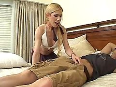 Blonde shemale and guy suck cocks