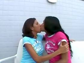 Two brunette trannies have seductive blowjob foreplay
