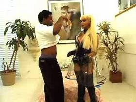 Goddess blonde shemale has oral sex with black guy